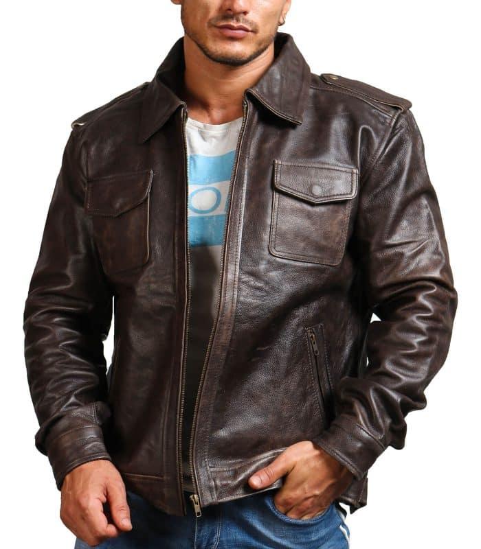Trucker Vintage Brown Men Leather Jacket Sale
