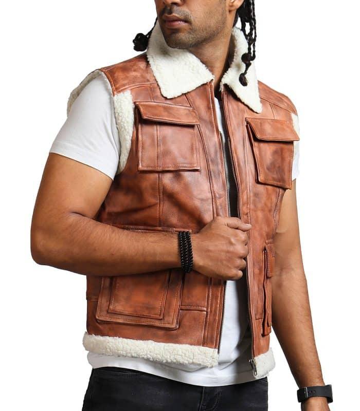 Men Brown Vintage Flap Pocket Fur Leather Vest