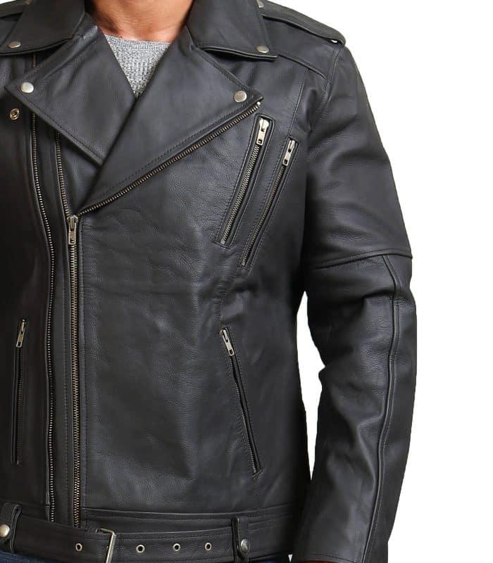 Men Grey Brando Cowhide Leather Jacket