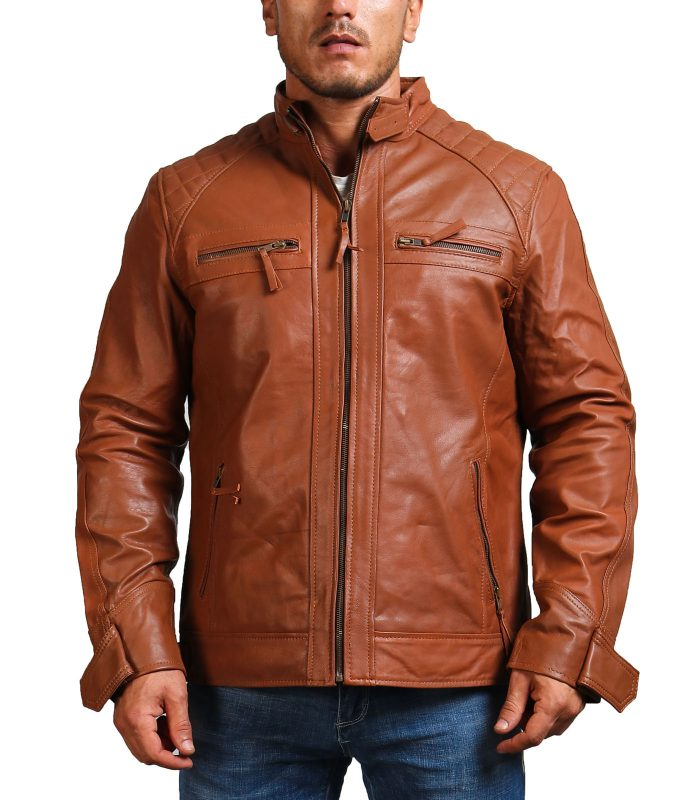 Hunter Tan Men Biker Leather Jacket