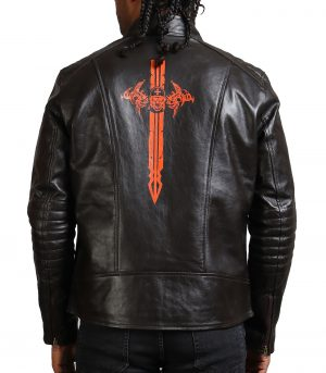 Sword Men Dark Brown Real Leather Jacket