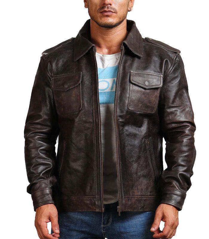 Trucker Vintage Brown Men Leather Jacket