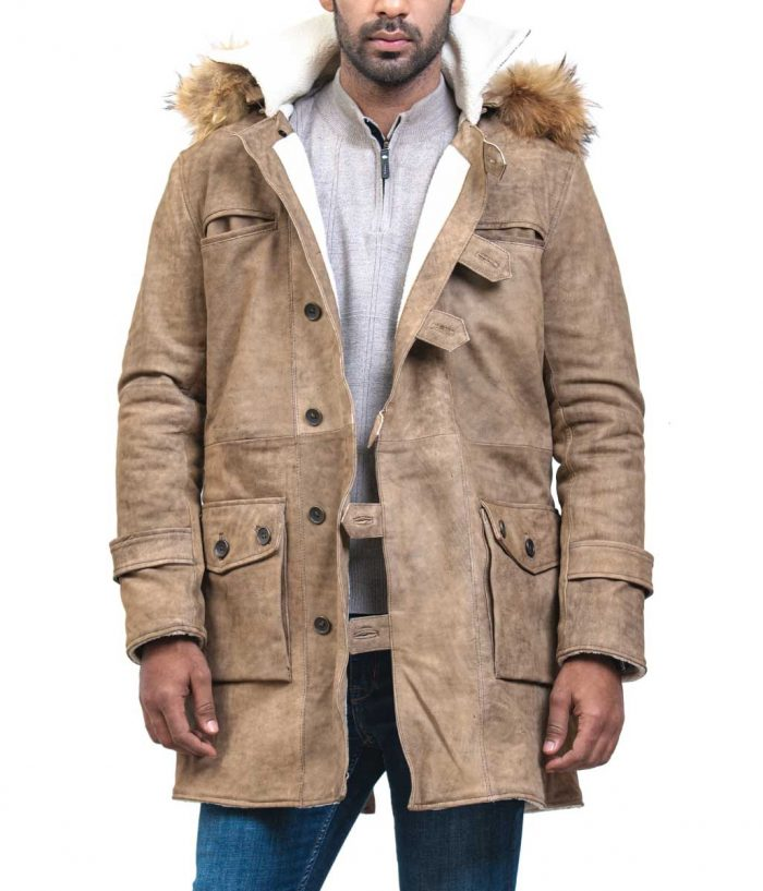 Bane Real Fox Fur Hooded Men Long Coat