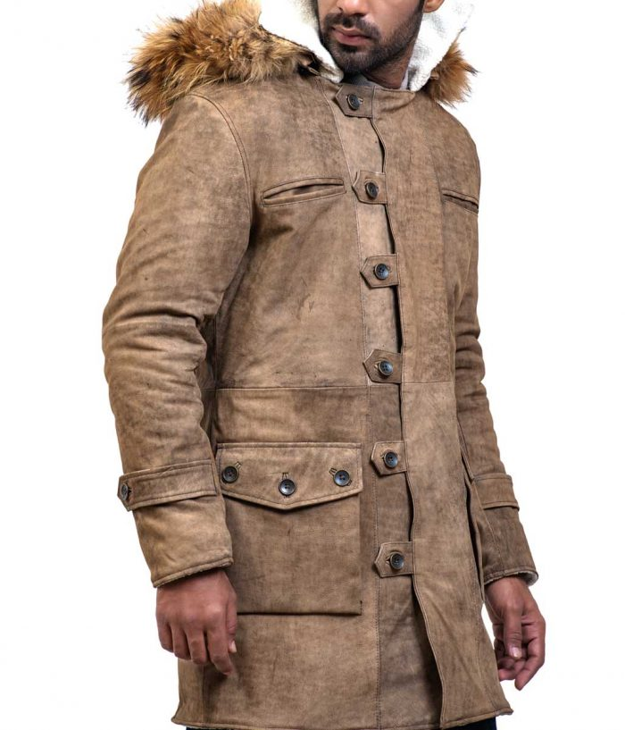 Mens Bane Leather Coat